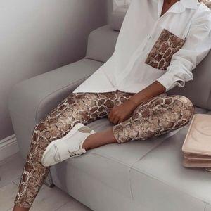NWOT Snake print contrast pocket top and pants set